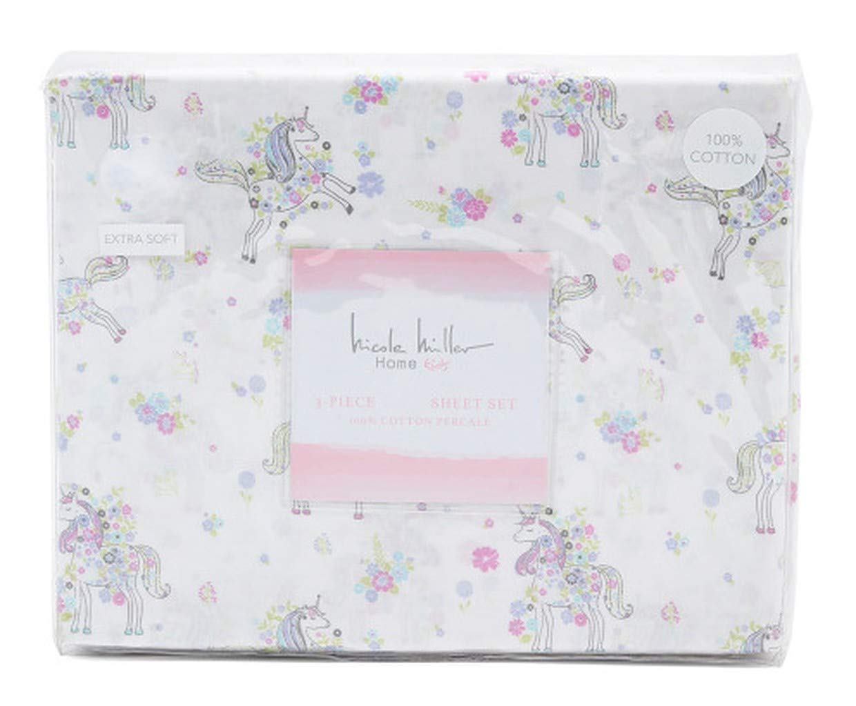 Nicole Miller Kids Unicorn Bloom Sheet Set for Girls in Pink Green Lilac Floral (Twin)