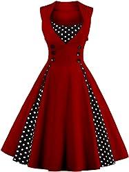 270950bfad3 VKStar Vintage 50er Jahre Rockabilly Kleid Ärmellos Retro Swing Elegantes  Abendkleid mit Knöpfe