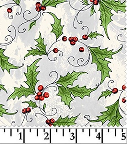 (Windham 'Seasons Greetings' Allover Holly on Grey/White Christmas Cotton Fabric)