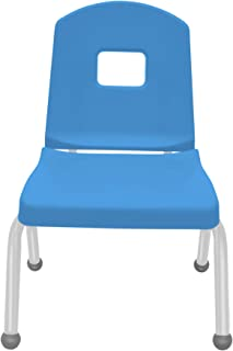 "product image for 12"" Creative Colors Split Bucket Chair in Bright Blue with Platinum Silver Frame and Ball Glide"