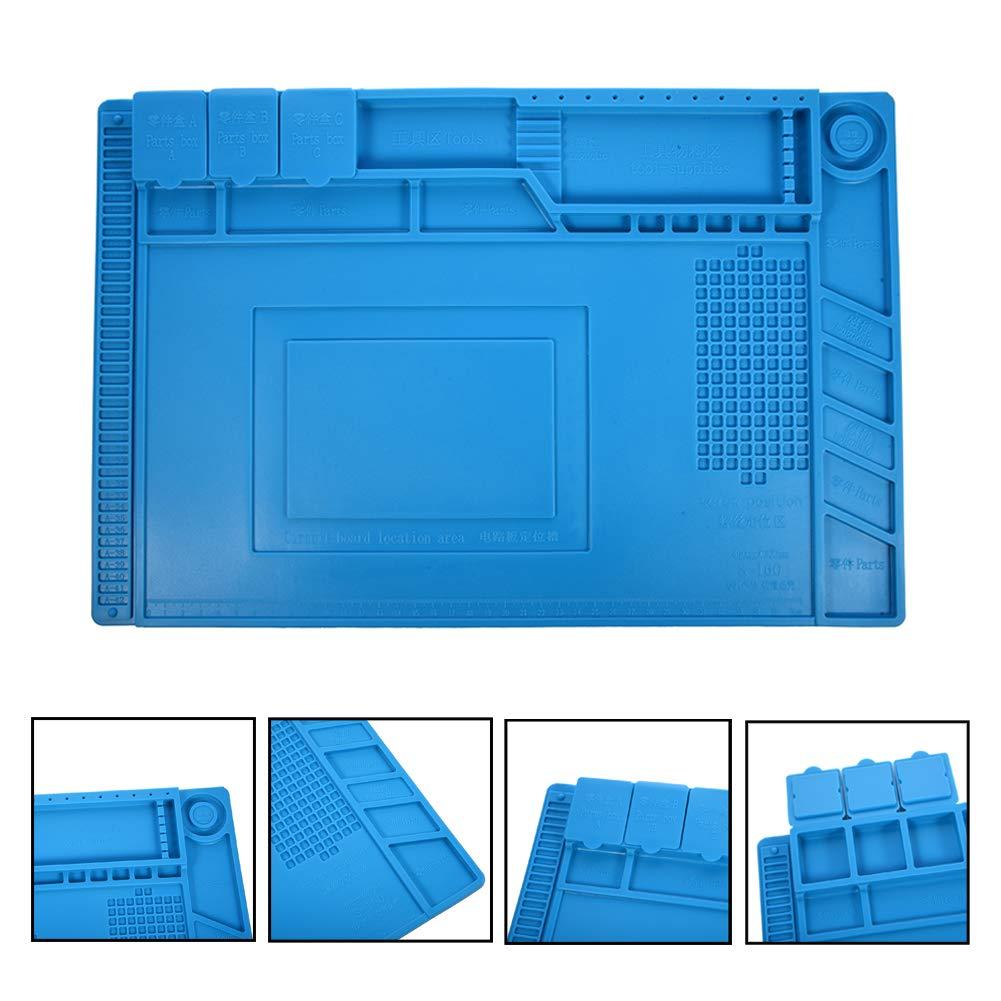 Alfombrilla para Soldadura de Silicona Almohadilla de trabajo Aislamiento resistente al alta temperatura -50-500 ° estera para reparar teléfono, ...