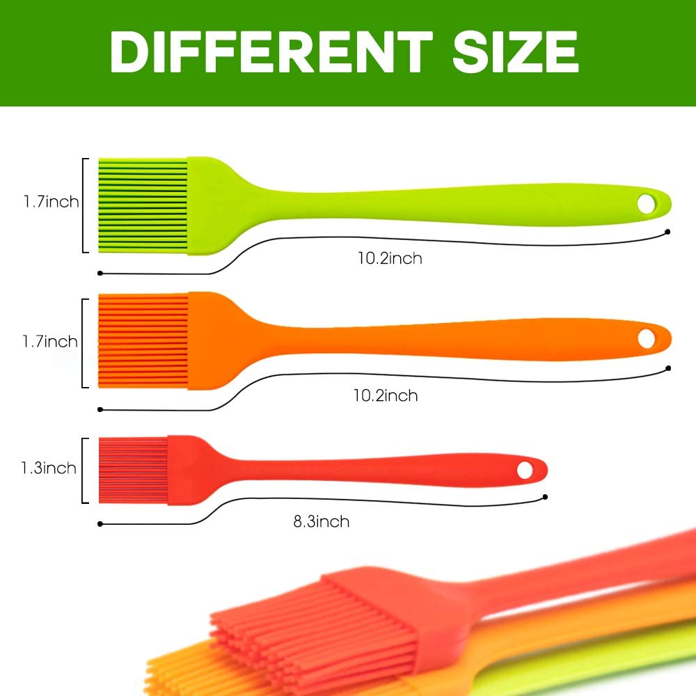 Aspiree Silicone Basting Brush for Cooking Tiction Set of 3 Baking Pastry Brush Silicone Brush Heat Resistant Butter Brush Spread.