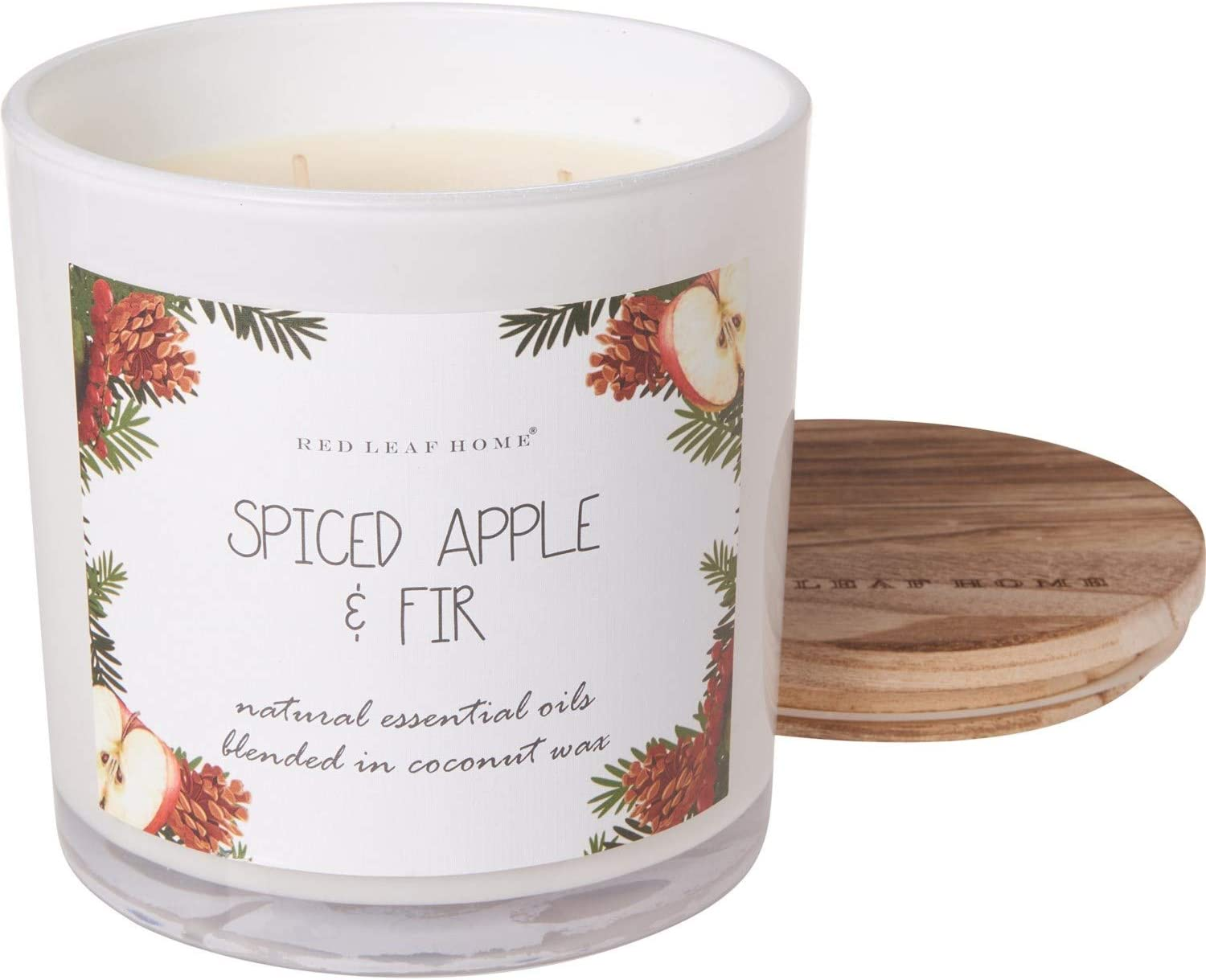 Marketplace Red Leaf Home Natural Spiced Apple and Douglas Fir Infused in Organic Coconut Wax - Very Large Candle with Wood Lid - 3-Wick, 24 oz.