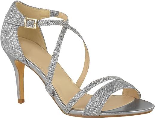 Womens Gold High Heel Peep Toe Diamante Mid Heel Party Prom Sandals Shoe Size