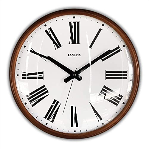 LANGPIN 15-Inch Large Wood Retro Vintage Style Decorative Clocks Battery Operated Quartz Analog Silent Movement Wall Clock for Home Kitchen Living Room Non Ticking Roman Numerals