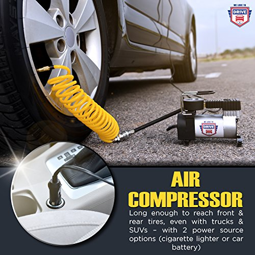 12V DC Best Air Compressor Tire Inflator with Gauge – 150 PSI Portable Air Pump for Car Tires, Trucks & Inflatables – DOUBLE BONUS Tire Puncture Repair Kit & Carry Case – by We Love to Drive by WE LOVE TO DRIVE (Image #4)