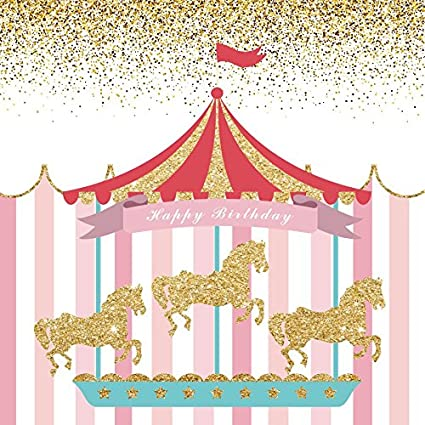 19660fd92e Happy Birthday Party Photography Backdrops - Yeele 4x4ft Circus Princess  Carousel Stripes Photo Background for Party Banner Decor Girl Baby Newborn  ...