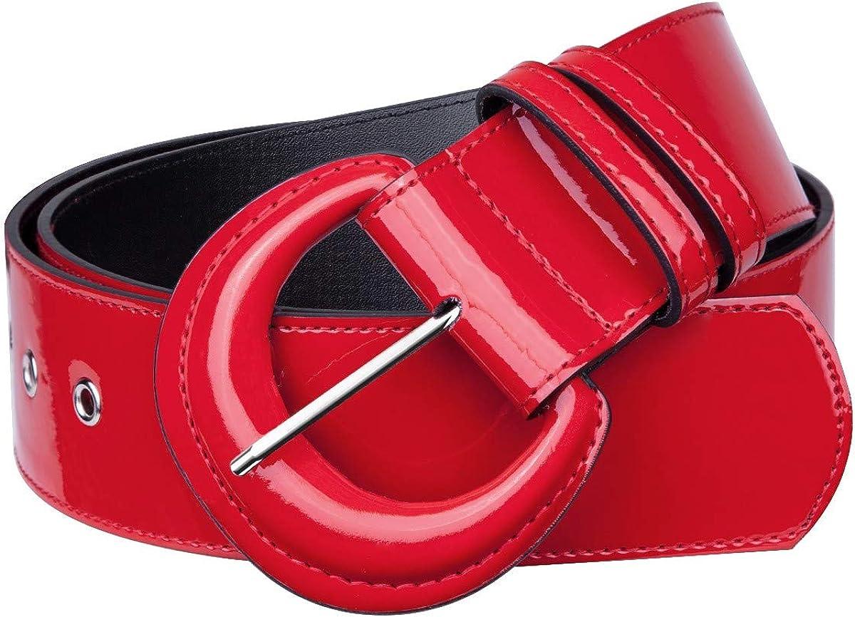 KYEYGWO Cinturón de piel sintética para mujer con anillas en D, hebilla ajustable, cinturón ancho clásico para vestidos, camisas, cortavientos.