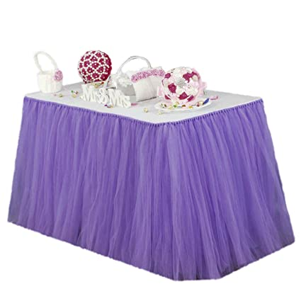 Vlovelife Lavender Tulle Table Skirt Tutu Tableware TableCloth Party Baby  Shower Birthday Wedding Decorations Favor 100cm