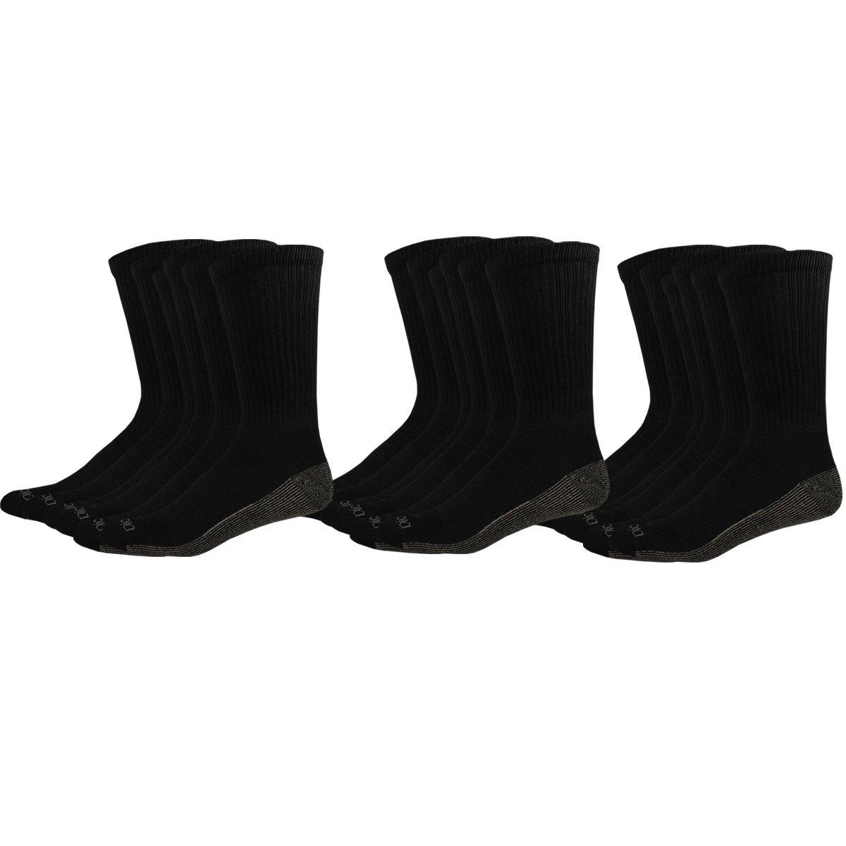 Dickies Men's Multi-Pack Dri-Tech Moisture Control Crew, Black 18 Pack, Sock Size: 10-13/Shoe Size: 6-12