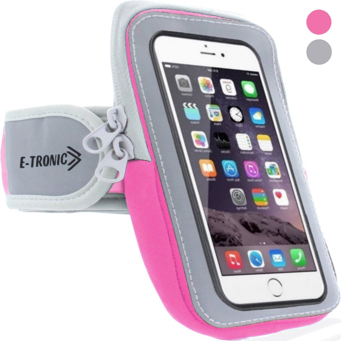Sports Armband: Cell Phone Holder Case Arm Band Strap with Zipper Pouch Mobile Exercise Running Workout for Apple iPhone 6 6S 7 Plus Touch Android Samsung Galaxy S5 S6 S7 Note 5 Edge Pixel (Pink)