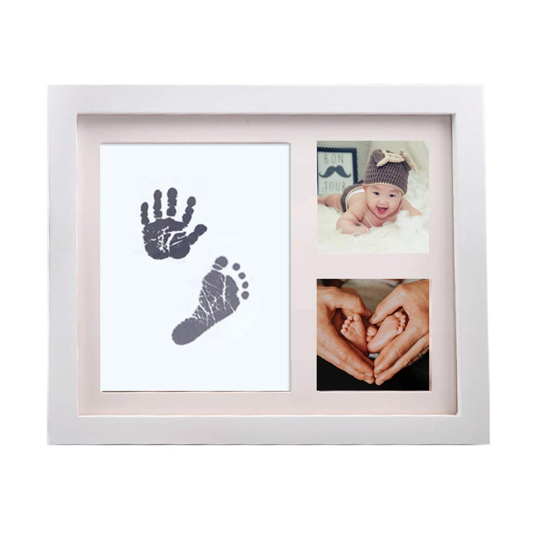 adecuado para regalos para reci/én nacidos//beb/és regalo para beb/és elegante madera maciza blanca StillCool marco de fotos y huellas de manos para beb/és seguro y elegante