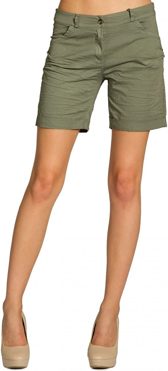 DE42 UK14 IT46 US12 Dimensioni:XL Colore:Verde Oliva Caspar BST006 Donna Shorts di Cotone