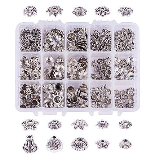 (PandaHall Elite About 300 Pcs Tibetan Style Alloy Flower Bead Caps 15 Styles Jewelry Making Antique Silver)