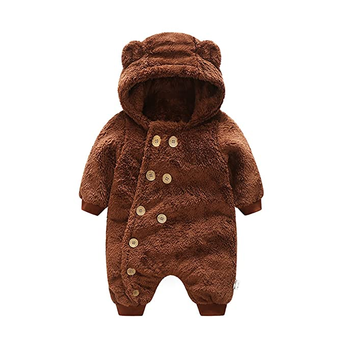 324e23e6f25a Amazon.com  MOMOLAND Infant Baby Fleece Romper Hooded Onesie ...
