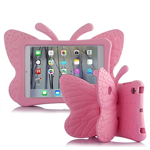 iPad Mini Kids Case, UCMDA Shockproof Drop Proof Children Butterfly Cover, Lightweight EVA Materail Protective Bumper with Stand for Apple iPad Mini 1/2/3/4 Tablet (7.9 Inch)- Pink