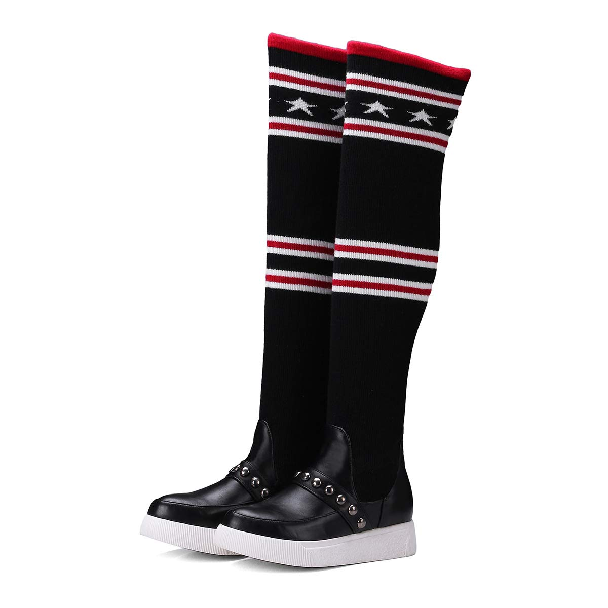 Frauen Stricken Flache Fersen dicken Boden hoch über Das Knie Stiefel Lange Stiefel Knie ad9641