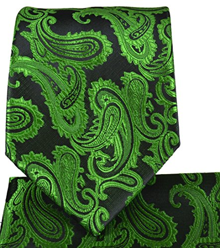 Antique Green Paisley Necktie and Pocket Square