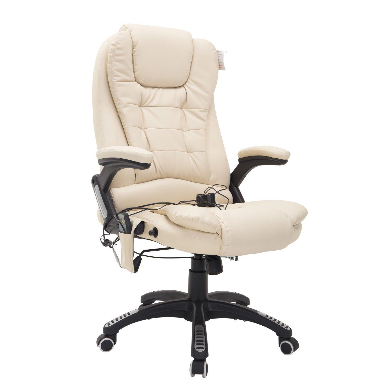 HOMCOM Bürosessel Bürostuhl Chefsessel Gamingsessel Massagesessel 6 6 6 Punkt Vibrations Massage mit Wärmefunktion drehbar (Creme) 679542