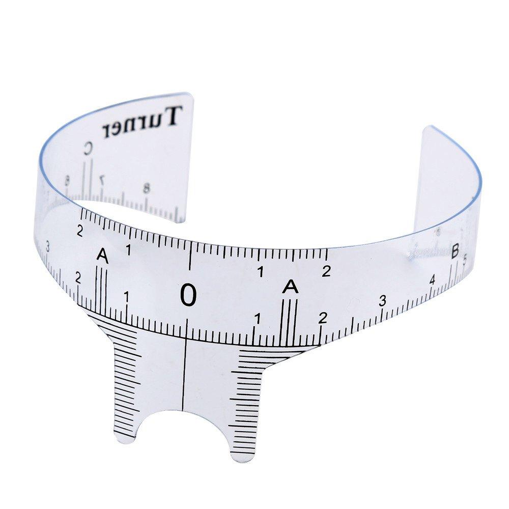 Elevin(TM) Microblading Reusable Makeup Brow Measure Eyebrow Guide Ruler Permanent Tools (White B)