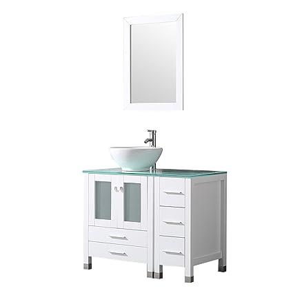 Walcut 36 White Bathroom Vanity And Sink Combo Modern Mdf Cabinet
