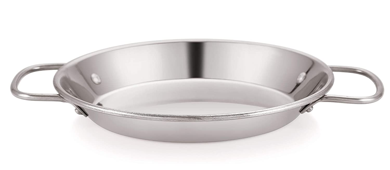 Chef Direct Stainless Steel Round Dish Paella Pan 8 INCH (20 cm) // Induction Friendly Spanish Rice, Valencian.