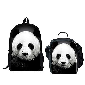 d22025628b18 Amazon.com | INSTANTARTS 2Pcs Cute Panda School Satchel Shoulder ...