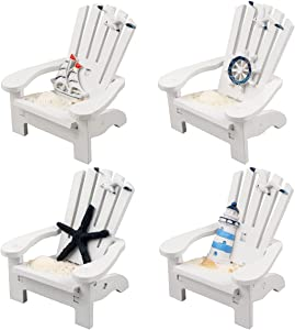 4 Pack Wooden Handmade Mini Chair Ornament Beach Decor Nautical Decoration for Dollhouse Bathroom Bedroom Decor Home Decor Article Home Office Desk , 4 x 3.75 x 3.75 inches(White)