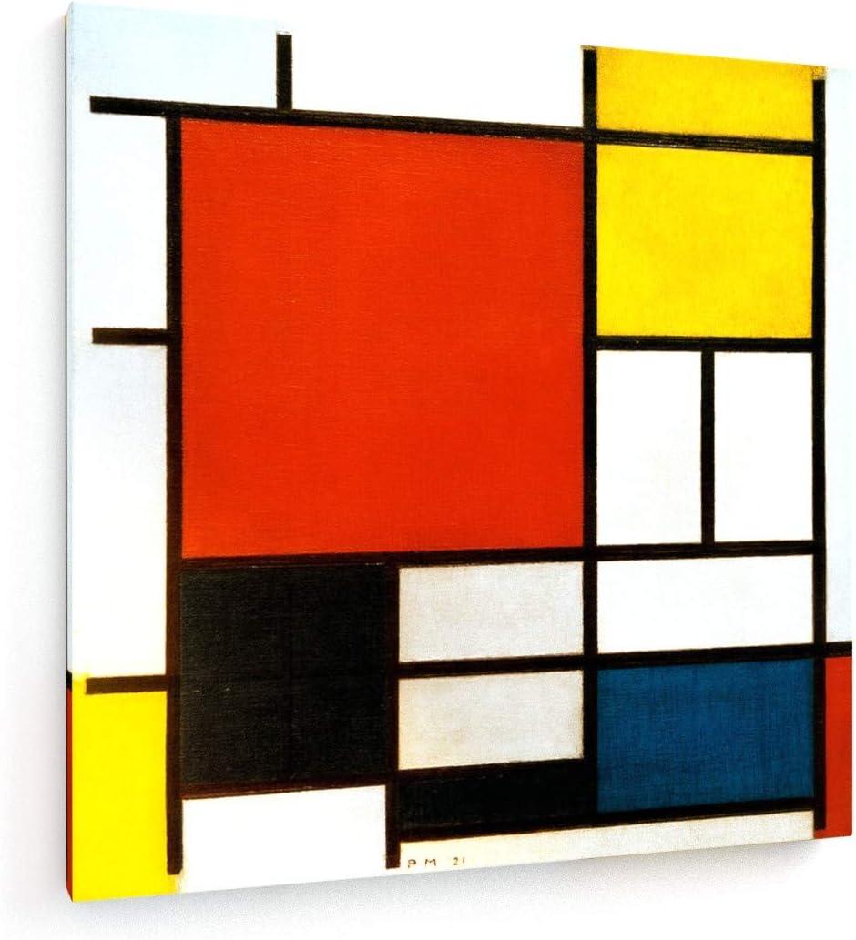 weewado Piet Mondrian - Composición con Gran Plano Rojo, Amarillo, Negro, Gris y Azul - 80x80 cm - Impresion en Lienzo - Muro de Arte - Canvas, Cuadro, Poster - Old Masters/Museum