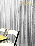 ShinyBeauty 8FTx10FT Silver Sequin Wedding Studio Photo Backdrops, Photobooth Backdrop Sparkly Sequin Fabric, Photography Props Background