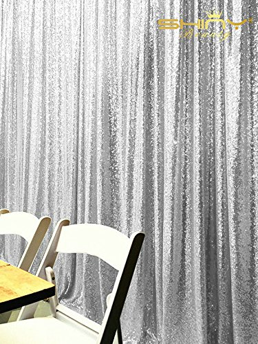 ShinyBeauty 8FTx10FT Silver Sequin Wedding Studio Photo Backdrops, Photobooth Backdrop Sparkly Sequin Fabric, Photography Props Background by ShinyBeauty