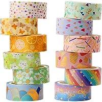 Washi Tape, 12 rollen Washi Tape Set Decoratieve Washi Tape Leuke Gouden Folie Bloem Decoratieve Masking Tape voor DIY…