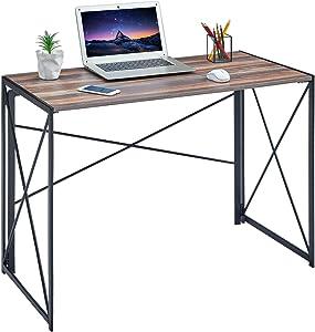 Writing Computer Desk Modern Simple Study Desk Industrial Style Folding Laptop Table for Home Office Notebook Desk, Vintage Walnut