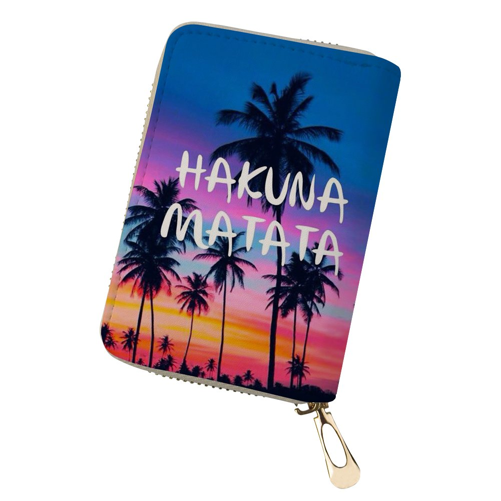 STARTERY Hawaii Character Pattern Unisex Leather Credit Card Holder Ticket Wallet pattern 1