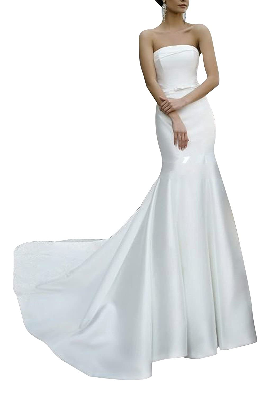Dreamdress Women Strapless Mermaid Satin Train Wedding Dress Party