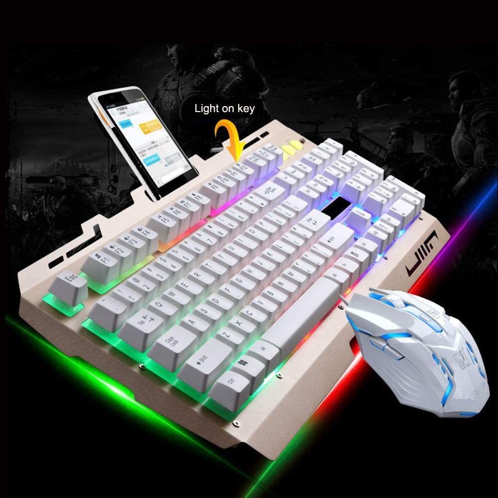 Radorock G700 LED Rainbow Color Backlight Gaming Game USB Wired Keyboard Mouse Set LOL