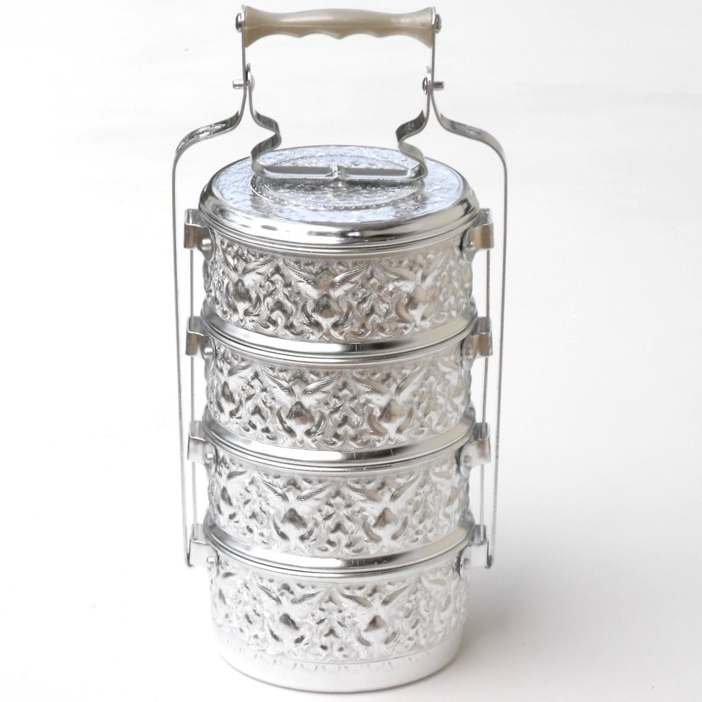 THAI LUNCH BOX TIFFIN SILVER FOOD STORAGE ALUMINIUM 14CM 4TIER PINTO THAILAND