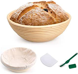 Banneton Bread Proofing Basket – 9 Inch Round Bread Proving Rattan Baskets and Sourdough Proofing Set with Cloth Liner for Dough Baking Bowl Gifts for Artisan Bread Making Starter Homemade