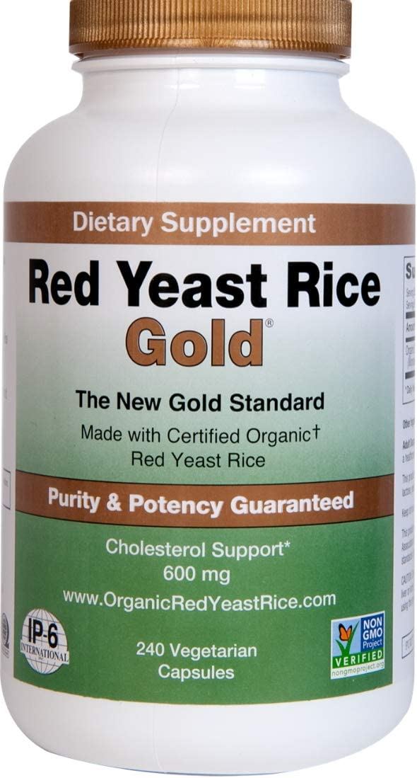 Red Yeast Rice Gold, 600 mg of Organic Red Yeast Rice – IP6 International – 240 Veg Caps