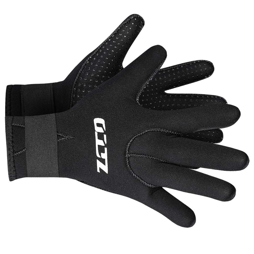 Neoprene Gloves Scuba Diving Gloves Wetsuit Dive Gloves for Men Women Kids, 3MM 5MM Flexible Anti Slip Thermal Five Finger Surfing Glove for Spearfishing Paddling Kayaking Swimming (3mm Black, M) by Skyone