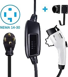 Megear Level 2 EV Charger(240V, 16A, 25ft), Portable EVSE Home Electric Vehicle Charging Station (NEMA 14-30 Plug)