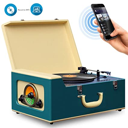 Pyle Vintage Turntable Record Player Bluetooth, CD, USB SD Recorder AM/FM  Radio, Retro Vinyl Style | Built in Speakers & Remote PVTT15UBT
