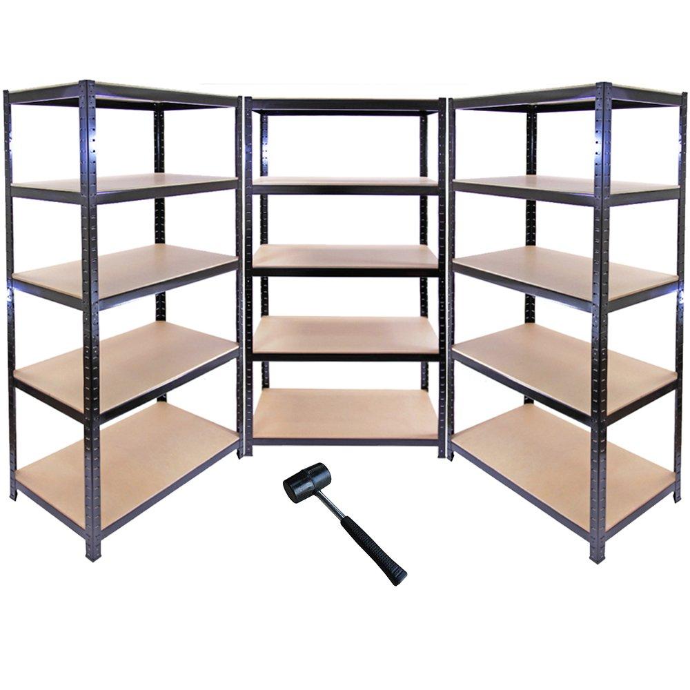 3 X 90cm Black Shed/Utility/Greenhouse Storage Racks Bays/Garage Shelving +  1 FREE Rubber Mallet: Amazon.co.uk: DIY U0026 Tools