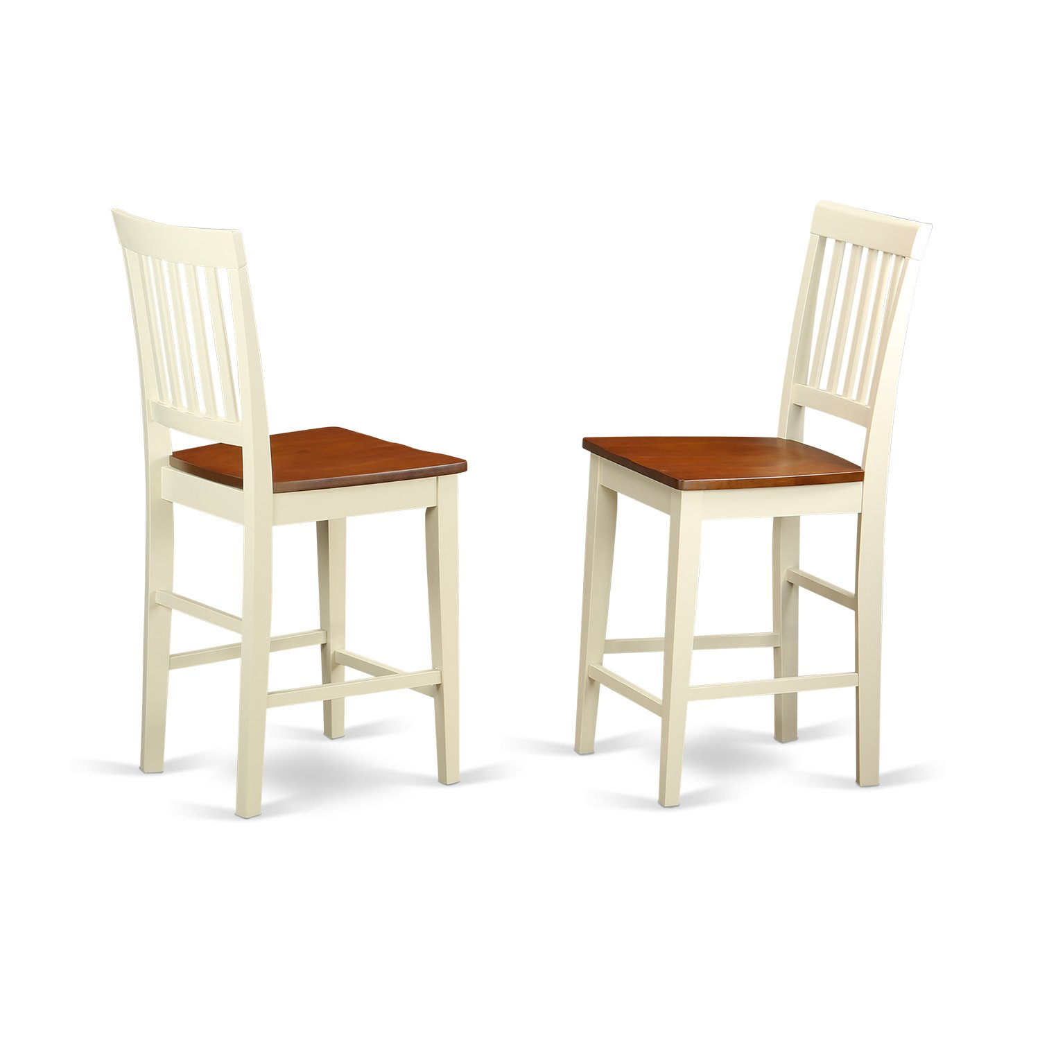 East West Furniture Counter Height Stool Set with Wood Seat, Buttermilk/Cherry Finish, Set of 2 by East West Furniture