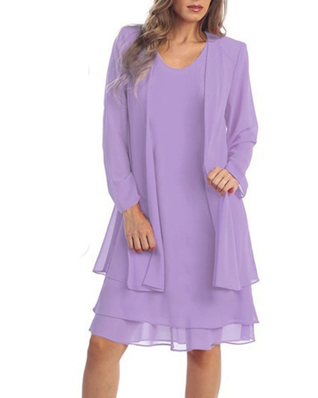 8ab52f5b84cfa KENANCY Women's Plus-Size Chiffon Jacket Dress Mother of The Bride ...