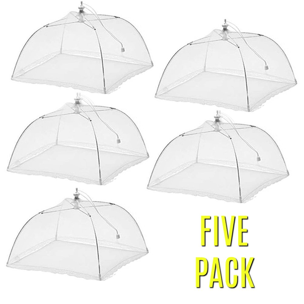 Large Pop-Up Mesh Screen Food Cover Tent Umbrella, 17 inch, Reusable and Collapsible Outdoor Picnic Food Covers Mesh, for BBQs, Food Cover Net, Keep Out Flies, Bugs, Mosquitoes - FIVE PACK!