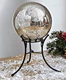 The Lakeside Collection Mercury Glass Lighted Gazing Ball with Stand & Timer - Silver