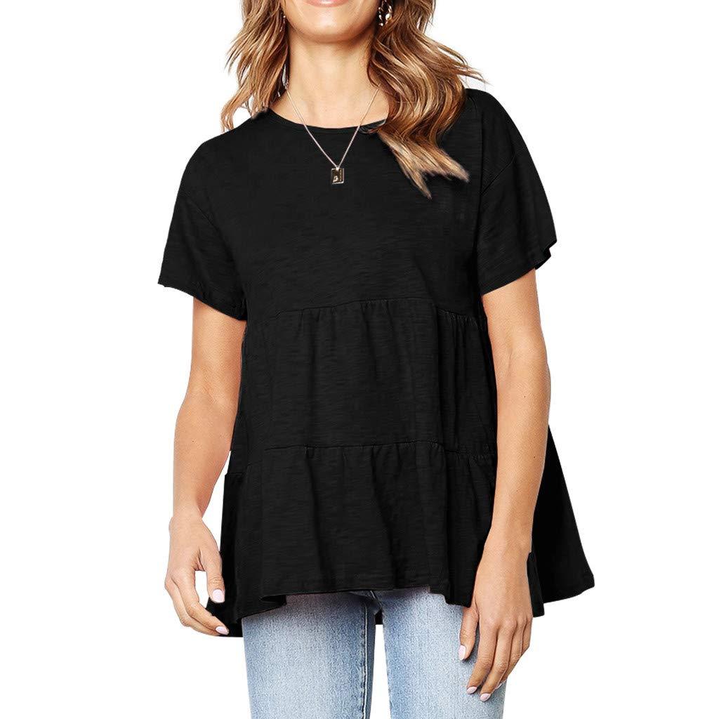 Women Flounce O-Neckline Design Solid Short Sleeve Shirt,Funic Vintage Tops