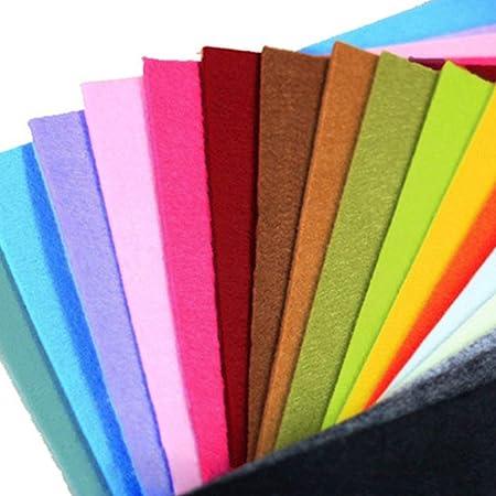 40pcs 1.4mm Suave Grueso Fieltro Tela Hoja Surtido Color Pack de Fieltro Bricolaje Manualidades Costura Cuadrados No-Tejida Patchwork Manualidades Proyectos - Como Imagen Show, 20x30cm: Amazon.es: Hogar