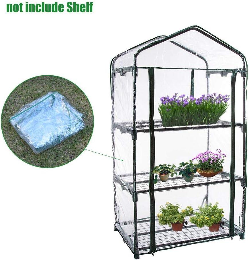 Cubierta de Invernadero de PVC para jard/ín con Mini Pisos de jard/ín con Cubierta Reforzada Mini invernaderos de pl/ástico 3 Niveles PVC para Plantas en casa